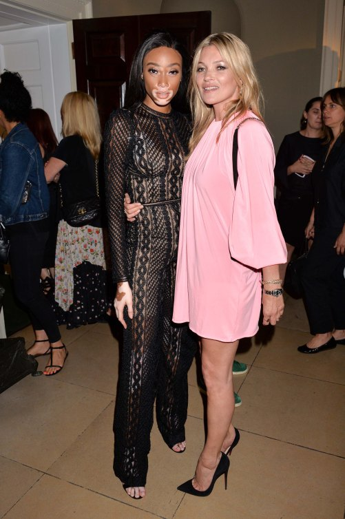Winnie Harlow and Kate Moss at the Kate Moss + Mario Sorrenti Launch Party of the New OBSESSED Calvin Klein Fragrance in London, UK on the 22nd June 2017 Photo: Dominic O'Neill for Calvin Klein 0208 004 5359 Sales@silverhubmedia.com